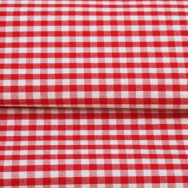 red and white check cotton fabric