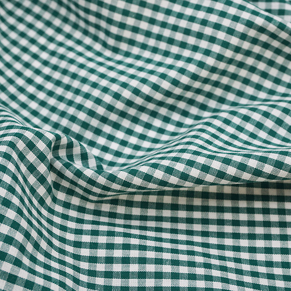 green and white check cotton fabric