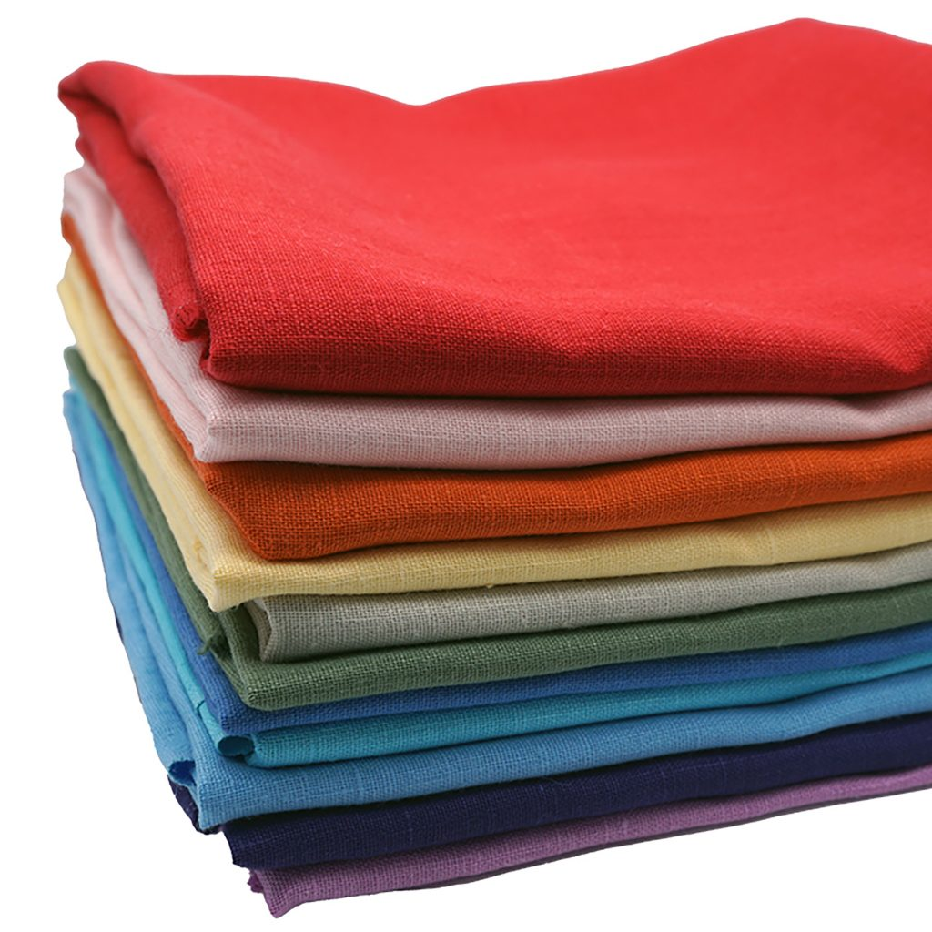 stack of linen fabric product photo